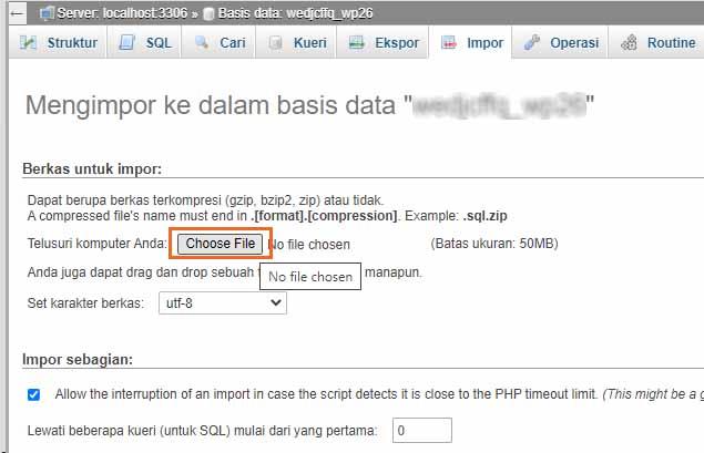 migrasi hosting - import database